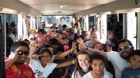 Mission trip bus ride